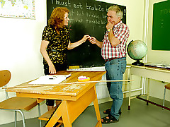Strict Trainer Sofya Canes Her Mature Student On His Slave