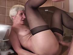 Viviana & Dieter thin hairy grandpa in kitchen with Dieter
