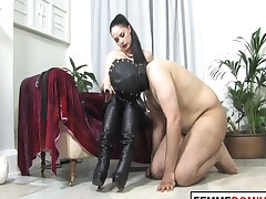 Femdom-goddess Controls Masked Submissive With Stick And Testicle Enforcement