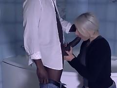 Calm blond courtesan is eagerly smokin' a handosme, ebony chap and enjoying it a lot