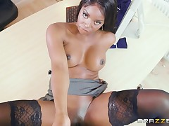 curvy brown boss goes freaky on intern's white cock