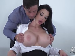 Darksome haired lascivious milf secretary Aletta Ocean is orally fixating her manager off for a quarterly added