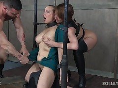 ruler and female-dominator full around with their golden-haired slave