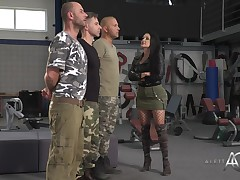 Slutty, French brown hair in ebon fishnets, Aletta Ocean is having group love making act with stallions in uniforms