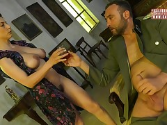Rounded brunette, Roberta Gemma is engulfing cock as if this girl was a real pro and enjoying it