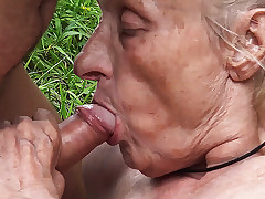 unattractive 86 years old mommy public gangbanged