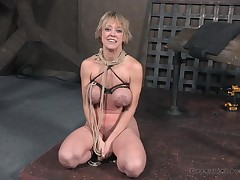 bound fairy-haired milf acquires her massive love bubbles and bawdy cleft whipped