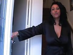 Spying sexy aunt suit up petticoat stockings
